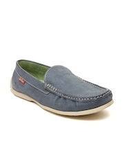 Lee Cooper Men Grey Leather Loafers