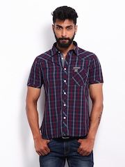Lee Cooper Men Navy & Red Checked Slim Fit Casual Shirt