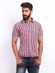 Lee Cooper Men Red Checked Slim Fit Casual Shirt