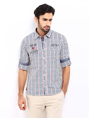 Lee Cooper Men White & Blue Checked Slim Fit Casual Shirt
