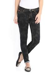 Lee Cooper Women Black Camouflage Printed Annie Slim Fit Jeans