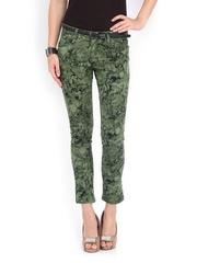 Lee Cooper Women Green & Black Printed Slim Fit Jeans