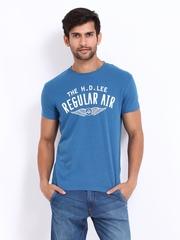 Lee Men Blue Linen Blend Printed T-shirt