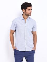 Lee Men Blue Linen Blend Slim Fit Casual Shirt