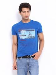 Lee Men Blue Printed T-shirt