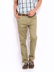 Lee Men Brown Custom Fit Trousers