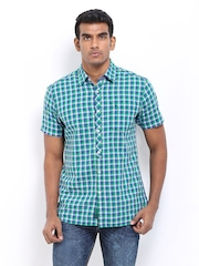 Lee Men Green & Blue Checked Slim Fit Casual Shirt