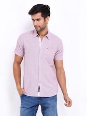 Lee Men Lavender Linen Blend Slim Fit Casual Shirt