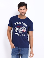 Lee Men Navy Printed T-shirt
