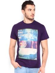 Lee Men Purple Printed T-shirt