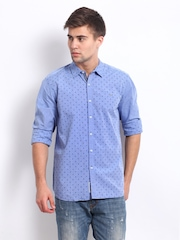 Lee Men Blue Printed Slim Fit Casual Shirt