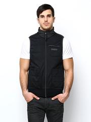 Lee Men Black Sleeveless Jacket
