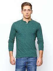 Lee Men Teal Green Henley T-shirt