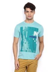 Lee Men Turquoise Blue Printed T-shirt