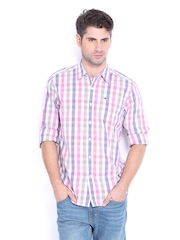Lee Men White & Pink Checked Slim Fit Casual Shirt