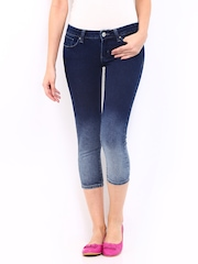 Lee Women Blue Amy Slim Fit Denim Capris