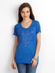 Lee Women Blue Printed T-shirt