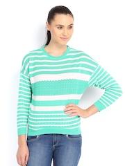 Lee Women Green & White Striped Sweater