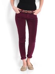 Lee Women Maroon Amy Slim Fit Corduroy Trousers