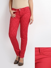 Lee Women Red Amy Slim Fit Reversible Trousers