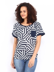 Lee Women White & Navy Tiffany Printed T-shirt