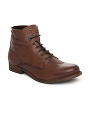 Levis Men Brown Leather Boots