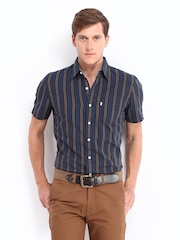 Levis Men Navy & Olive Green Striped Slim Fit Casual Shirt