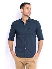 Levis Men Navy Slim Fit Smart-Casual Shirt