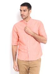 Levis Men Peach Coloured Linen Blend Slim Fit Smart-Casual Shirt