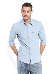 Levis Men Blue Denim Slim Fit Casual Shirt