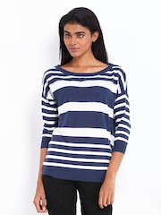 Levis Women Navy Blue & White Striped Top