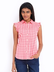 Levis Women Pink & Beige Checked Shirt