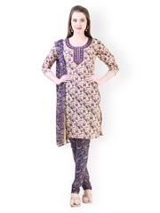 Libas Women Beige & Purple Printed Churidar Kurta With Dupatta