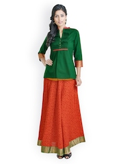 Libas Women Green & Red Clothing Set