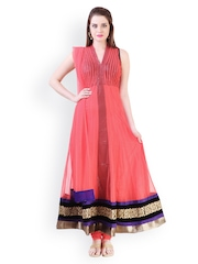 Libas Coral Pink Embroidered Net Anarkali Churidar Kurta with Dupatta
