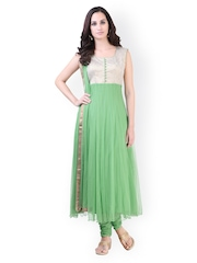 Libas Women Libas Green Anarkali Kurta