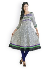 Libas Women Black & Cream Coloured Anarkali Kurta