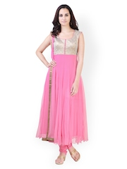 Libas Women Pink Anarkali Churidar Kurta with Dupatta