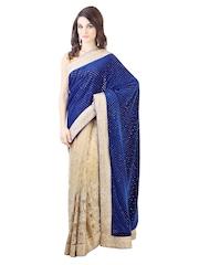 Libas Blue & Beige Embroidered Net Partywear Saree