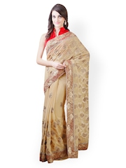 Libas Beige Embroidered Chiffon Partywear Saree