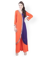 Libas Women Orange & Purple Salwar Suit