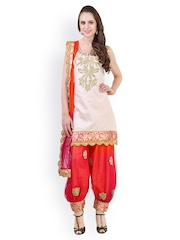 Libas Women Beige & Orange Salwar Suit with Dupatta