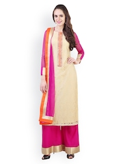 Libas Women Beige & Magenta Salwar Suit with Dupatta