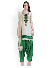 Libas Women Beige & Green Chanderi Patiala Kurta Set