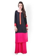 Libas Women Black & Pink Salwar Kurta