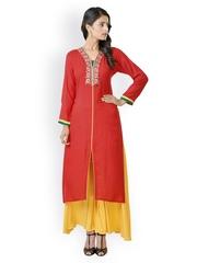 Libas Women Red & Yellow Salwar Kurta