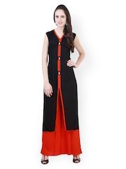 Libas Women Black & Orange Cotton & Silk Blend Salwar Kurta