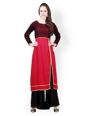 Libas Women Red & Black Embroidered Cotton Silk Salwar Kurta