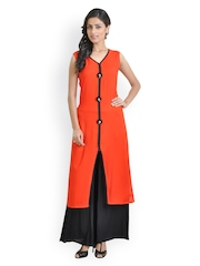 Libas Women Orange & Black Salwar Suit