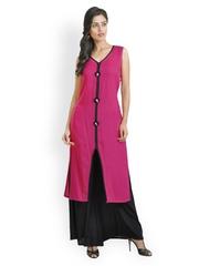 Libas Women Pink & Black Salwar Suit